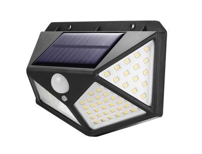 Kit 4 Refletor Solar Parede 100 Leds Solar Luminária Sensor Refletor Luz Branco Frio Alta Luminosidade