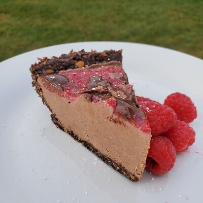 Slice of Triple Chocolate Raspberry Swirl Cheesecake Pie - Only $7.99 - Limited Stock