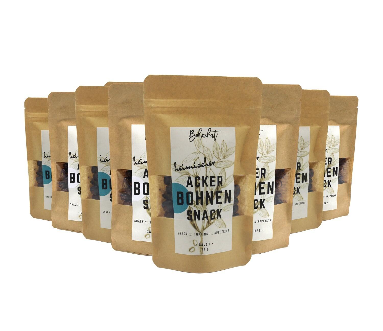 8 x 75 g geröstete Ackerbohnen –  4 x salzig + 4 x salzreduziert