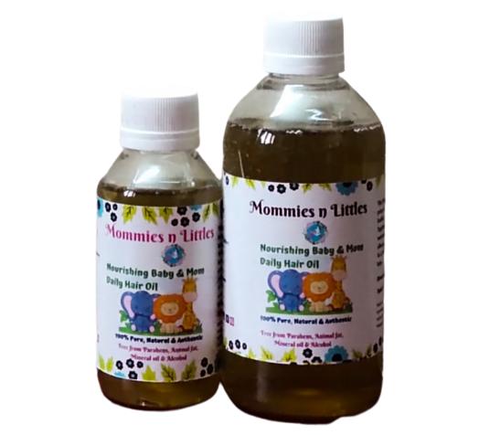 Nourishing Baby & Mom Daily Hair Oil with Almonds, Avocado, Walnut, Jojoba & Hibiscus Oil - Cold pressed & Homemade ( 110ml )