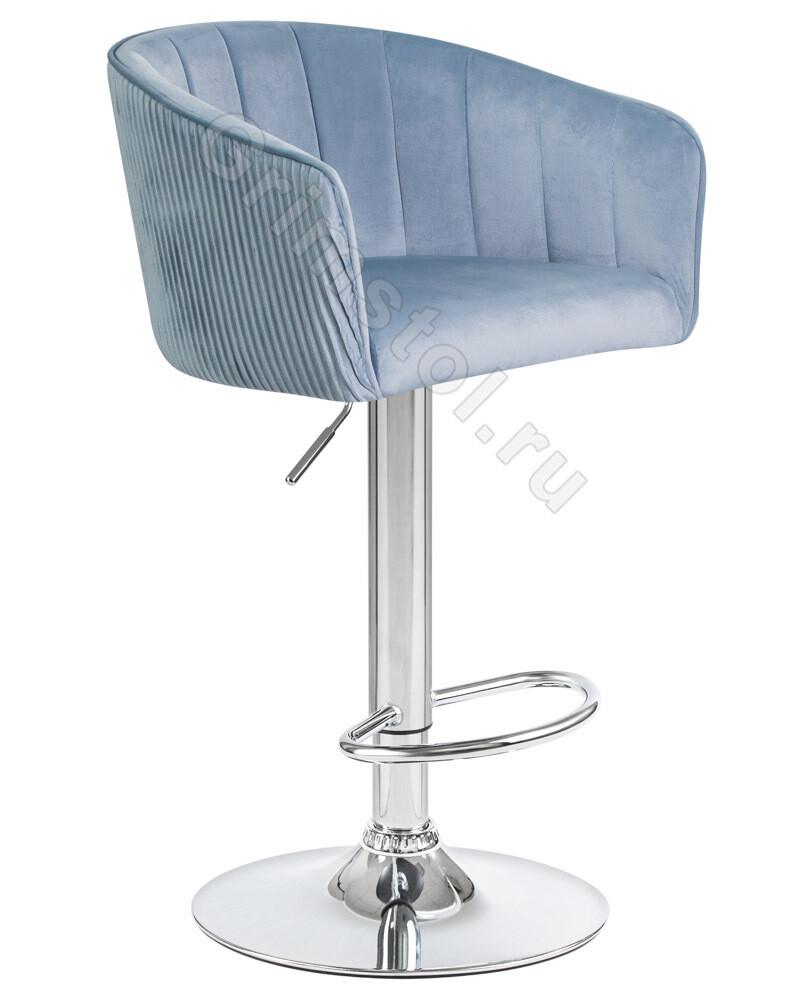 Барный стул велюровый голубой СБ4СГ