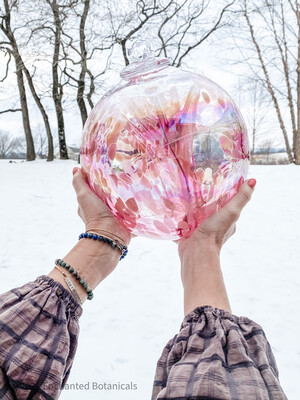 """WITCH BALL 12"""" Rose Pink Iridescent"""