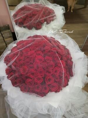 White Chiffon Red Roses