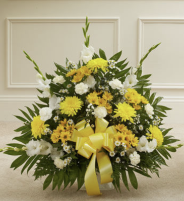 Heartfelt Condolence Yellow Arrangement