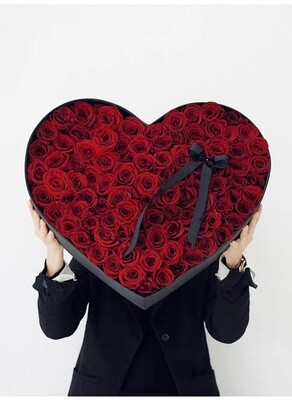 Big Heart Rose Box - Red