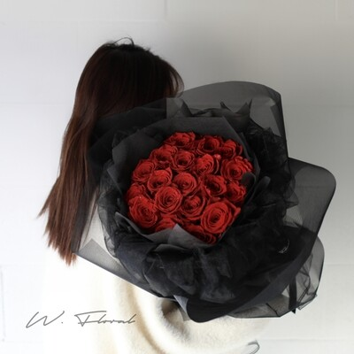 Black Chiffon Red Roses
