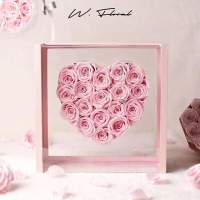 Crystal Heart Preserved Roses Pink