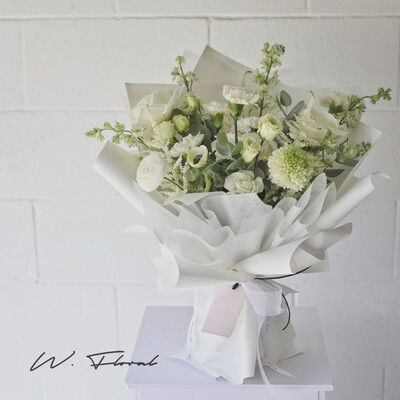 Heartfelt Condolence White Bouquet