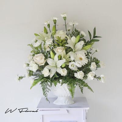 Heartfelt Condolence White Arrangement