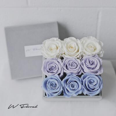 Felt Premium Box Preserved Roses Ombre Lavender