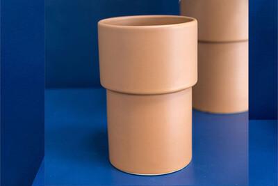 """Vermilion Vase Cylinder 7""""X 11.5"""""""