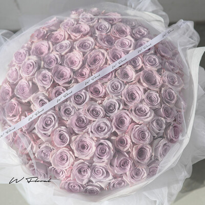 White Chiffon Lavender Roses
