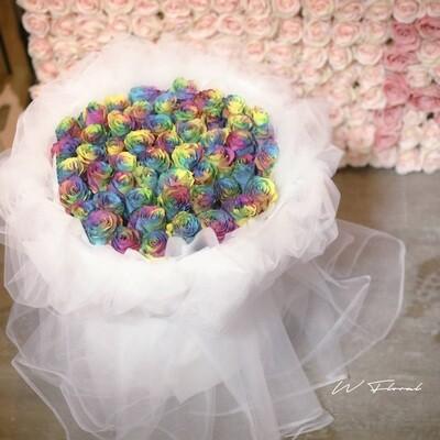 White Chiffon Rainbow Roses