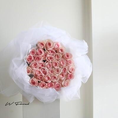 White Chiffon Pink Roses