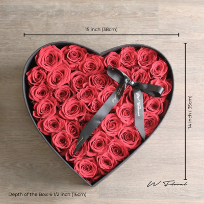 Big Heart Rose Box - Red