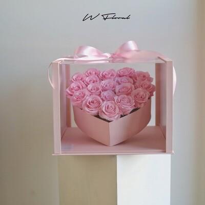 Crystal Heart Pink Preserved Rose