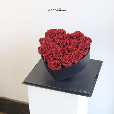 Crystal Heart Red Preserved Rose