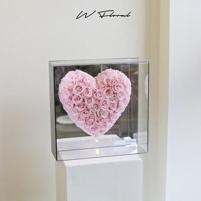 Crystal Heart Preserved Rose - Light Pink