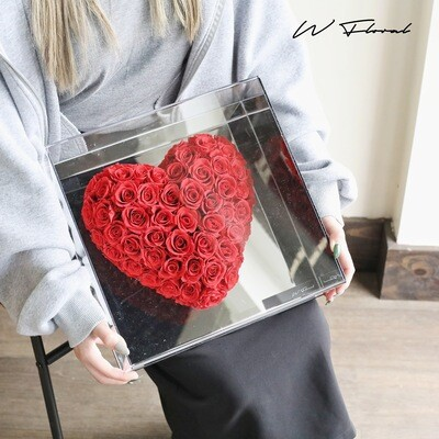 Crystal Heart Preserved Rose - Red