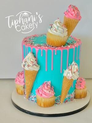 Ice cream & Cupcakes Drip cake