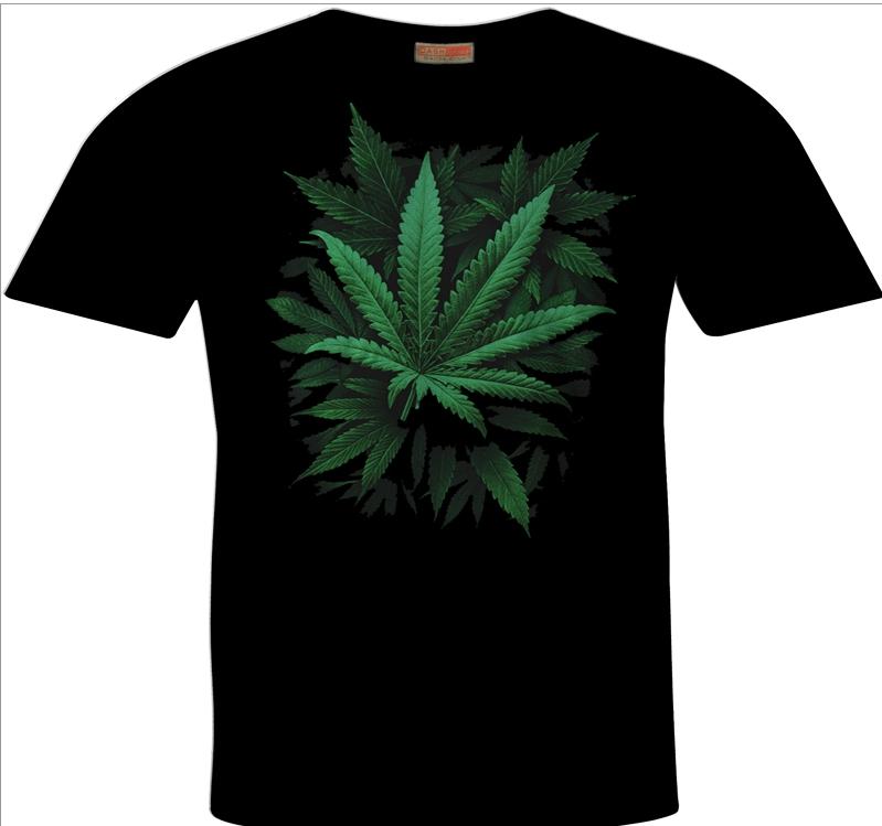 Cannabis Sativa Leaf Print Hemp T-Shirt