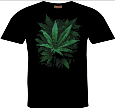 Cannabis Sativa Leaf Print Hemp T-Shirt
