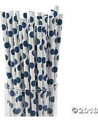 Blue polka dot straws 24 PACK