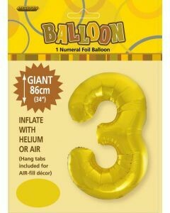 Number 3 Foil Balloon - 86cm​