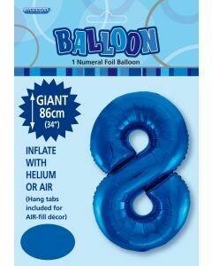 Blue Number 8 Foil Balloon - 86cm