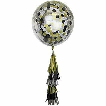 Balloon Black & gold  confetti & tassels