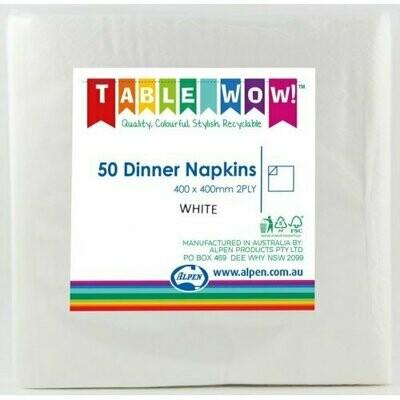 50 White Dinner Napkins