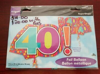40th birthday balloon 46cm x 74cm