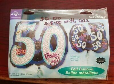 50th birthday balloon 66cm x 53cm