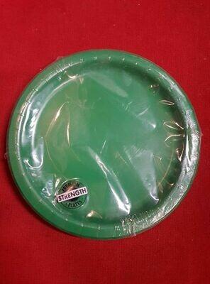 24 Green plastic plates