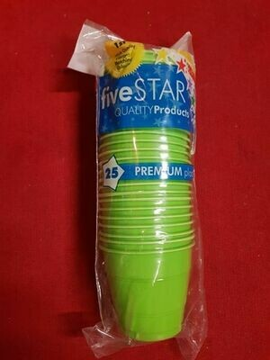 25 Pack Of Plastic Green Cups