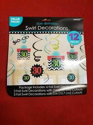 30th Birthday swirl decorations 12 pieces