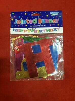 Jointed happy birthday banner