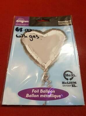 Silver Love heart Foil balloon