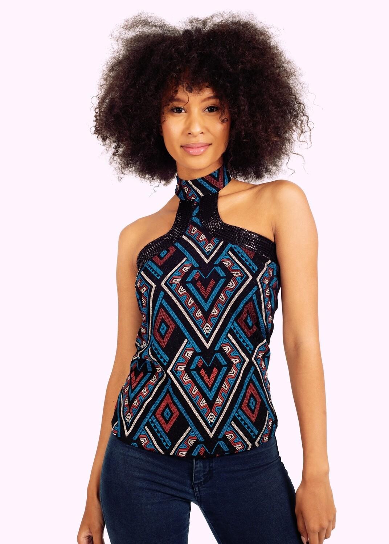 Elegant, Afro Politan cocktail blouse