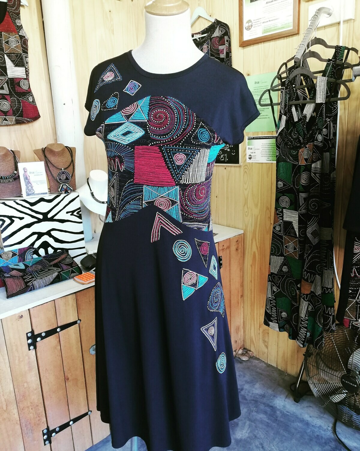 Comfortable, African inspired cocktail dress!