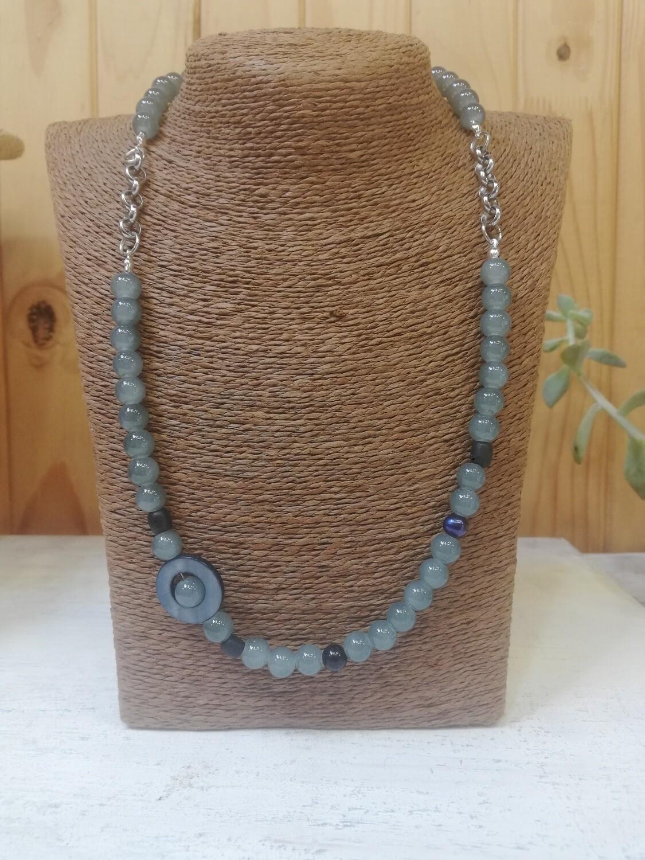 Elegant, Grey, Glass-Beads Necklace