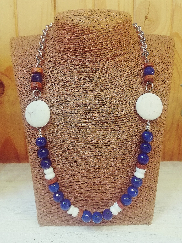 Blue Agate, White Coral & Stone Necklace