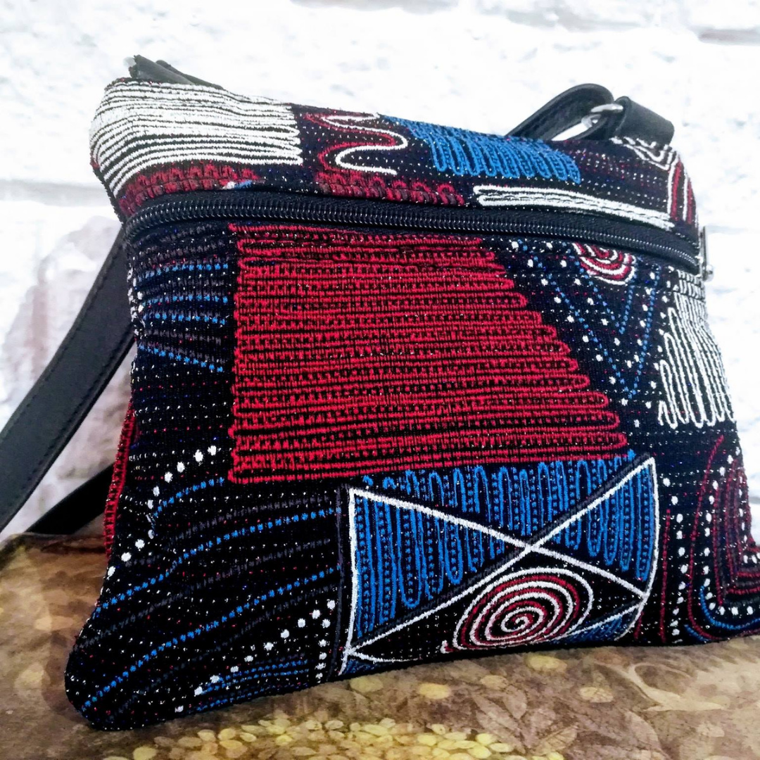 Fabric & Leather Sling Bag