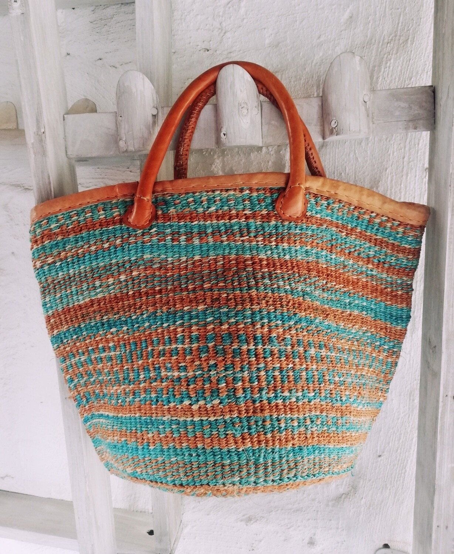 Sisal & Leather, Hand Woven Beach Basket/Bag