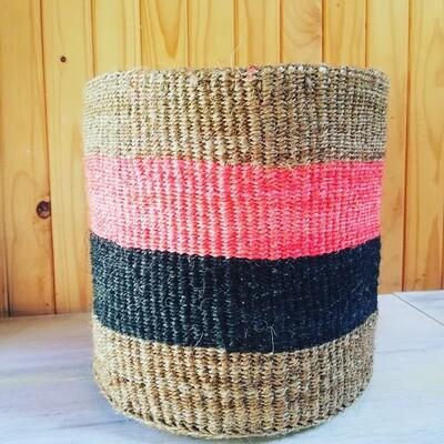 Coral, Black & Biege, Sisal Planter/Storage Basket