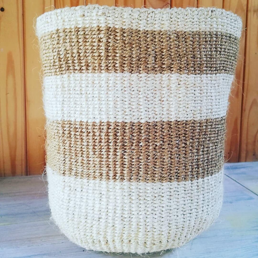 Cream & Biege, Sisal Planter/Storage Basket