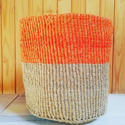 Neutral & Orange, Sisal Planter/Storage Basket