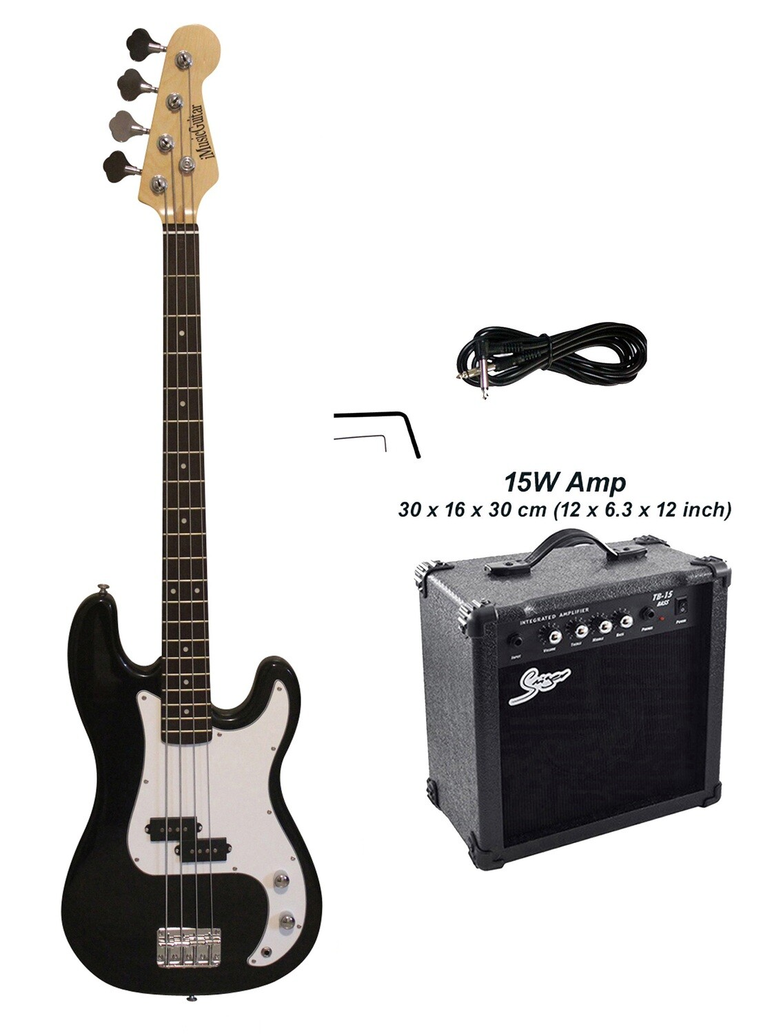 Bass Guitar with 15W Amp Package 4 String P style Black for Beginners iMEB871PKT