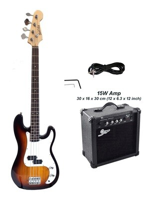 Bass Guitar with 15W Amp Package 4 String P style Sunburst for Beginners iMEB873PKT
