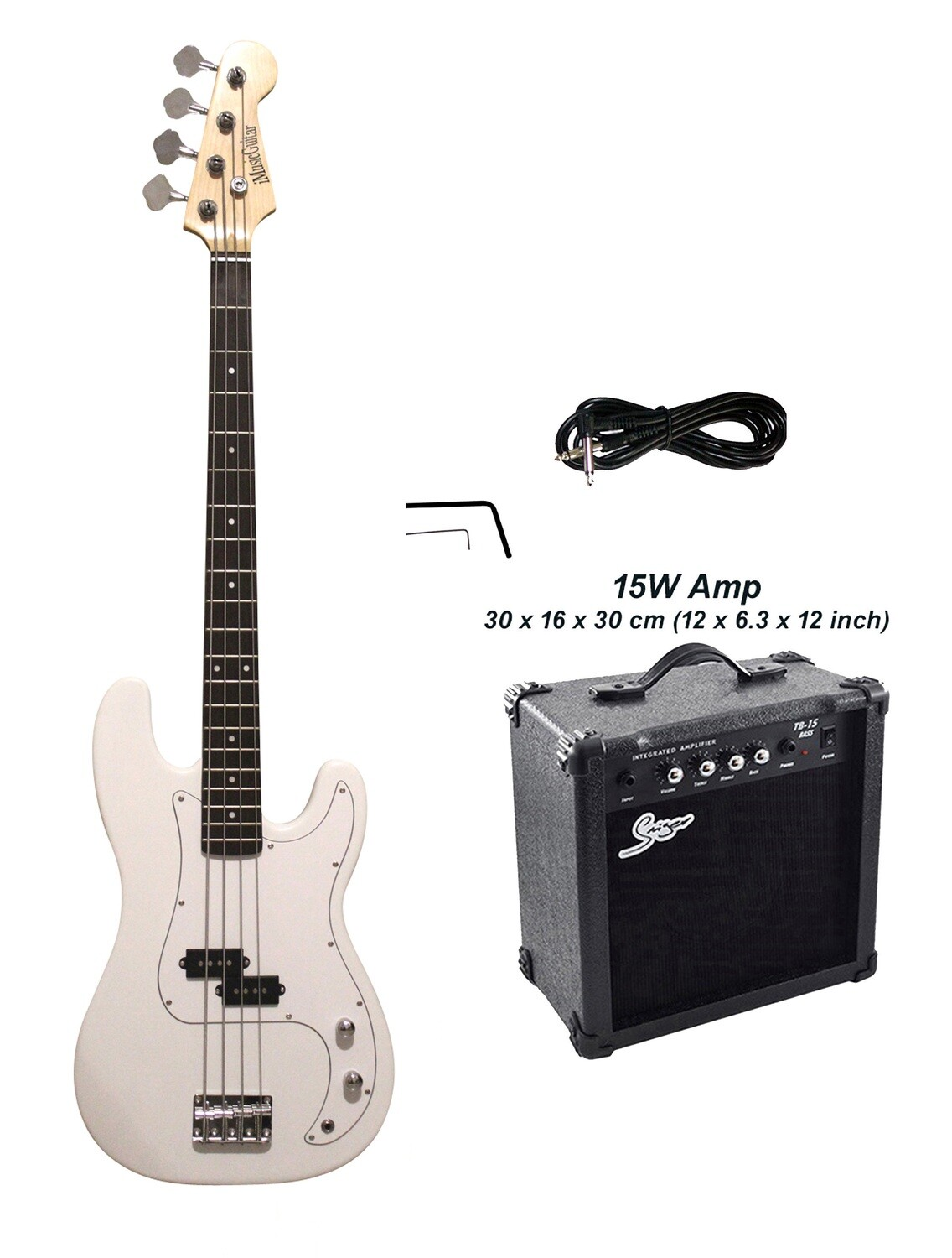 Bass Guitar with 15W Amp Package 4 String P style White for Beginners iMEB872PKT